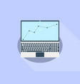 laptop flat with long shadow graph of indicators vector image