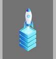 launching spaceship rocket vector image vector image