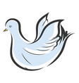 light blue and white dove with yellow beak on vector image