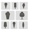monochrome icons with ice cream vector image