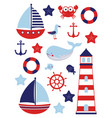 nautical baby set marine vector image