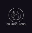 one line squirrel logo vector image vector image