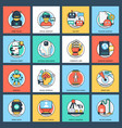 pack of artificial intelligence flat icons vector image