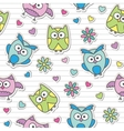 pattern with cartoon owls vector image vector image
