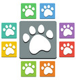 paw print icons - almost flat style - 9 colors vector image vector image