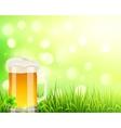 pint beer on bokeh light background vector image