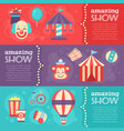 retro circus banners with festival elements vector image vector image