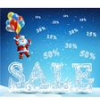 Santa Claus coming down on balloons for sales vector image vector image