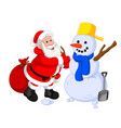 santa claus with snowman vector image