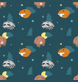 seamless pattern with cute sleeping animals vector image