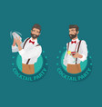 set of emblems cocktail party with bartender vector image vector image