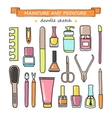 set of manicure and pedicure doodle vector image vector image