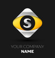 silver letter s logo in the silver-yellow square vector image