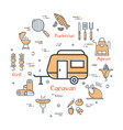 simple icons of camping food making vector image vector image