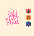 sold out red pink doodle hand-drawn cartoon stamp vector image vector image