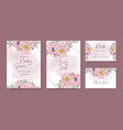 wedding card template flower watercolor hand paint vector image vector image
