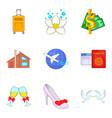 wedding journey icons set cartoon style vector image
