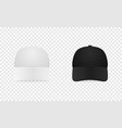 white and black baseball cap icon set front view vector image vector image