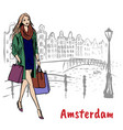 woman in amsterdam vector image vector image