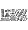 wood set planks and logs lumber and cuts vector image