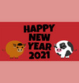 year ox greeting card cartoon style vector image