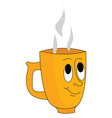 yellow cup with face and steam coming out from it vector image