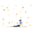 young woman doing yoga autumn leaves background vector image vector image