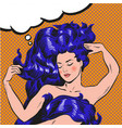 young woman with long hair pop art comic vector image