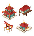 asian buildings isometric chinese gate vector image
