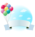 Balloons with an empty banner vector image