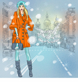 beautiful fashionable girl on the wide avenue vector image vector image
