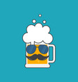 beer mug with sunglasses and a mustache vector image vector image