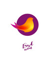 bird logo beautiful bird isolated purple circle vector image