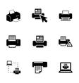 black printer icons set vector image vector image