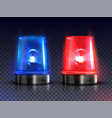 blue and red realistic flasher sirens set vector image vector image