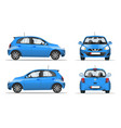 blue mini car side front and back view flat vector image