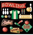 Bowling Equipment Set Flat Icons Collection vector image vector image