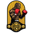 boxer pose with boxing champion belt vector image vector image