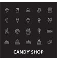 candy shop editable line icons set on black vector image