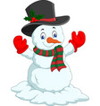 cartoon happy snowman isolated on white background vector image