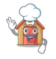 chef cartoon dog house and bone isolated vector image vector image