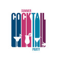 cocktail party lettering glass summer cocktail vector image vector image