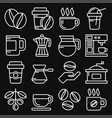 coffee icons set on black background line style vector image