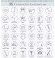 Construction tools outline icon set vector image
