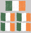 Flat and Waving Hand Draw Sketch Flag of Ireland vector image vector image