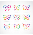 group hand drawn butterflies on white vector image