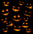 halloween background with glowing pumpkin faces vector image vector image