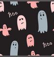 halloween dark seamless pattern cute ghosts vector image