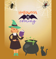 halloween little witch making magic potion vector image