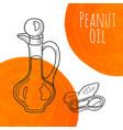 hand drawn peanut oil bottle with orange vector image vector image
